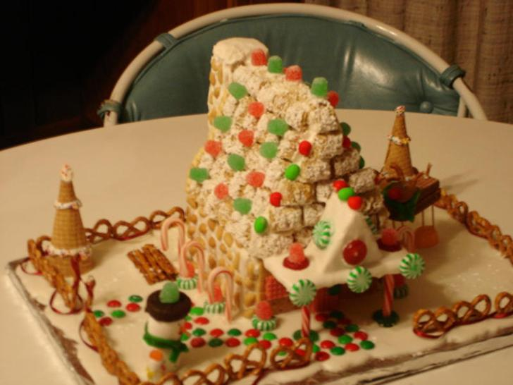 How to make a gingerbread house directions pictures snowman reindeer candy gumdrops ice cream cone christmas trees with icing frosting candy canes peppermints pretzels peanuts shredded wheat cereal chimney walkway made with m&m's